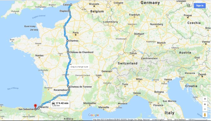 Route to Spain